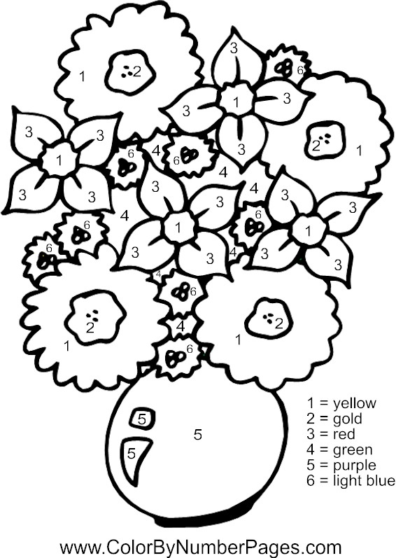 flowers color by number page